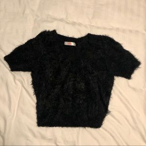 Black fuzzy crop top from American Apparel Size L